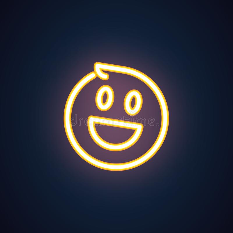 Ícone feliz do néon do sorriso Símbolo alegre da iluminação do emoji Expressão de riso do emoticon de sentimentos positivos Vetor ilustração royalty free