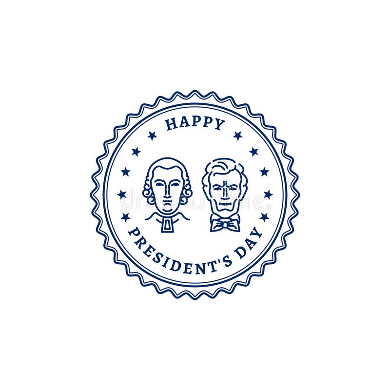 Ícone feliz do selo dos presidentes Dia Presidentes americanos - George Washington e Abraham Lincoln Ilustração do vetor ilustração do vetor