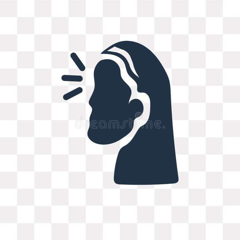 Ícone feliz do vetor da mulher isolado no fundo transparente, Happ ilustração stock