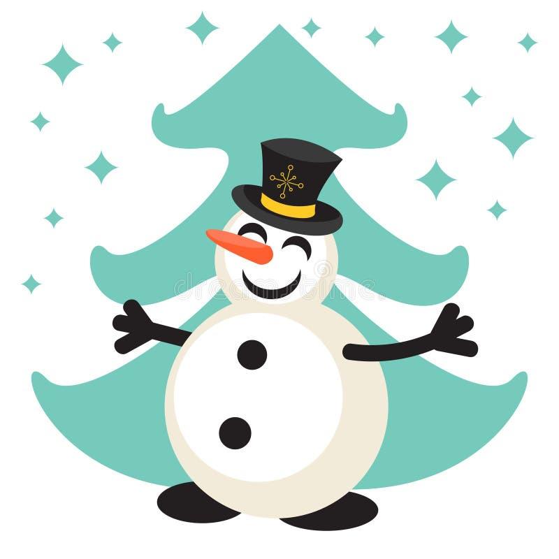 Ícone feliz do vetor dos desenhos animados do boneco de neve ilustração stock