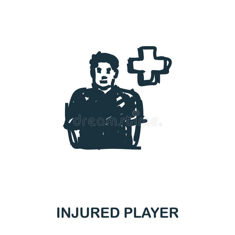 Ícone ferido do jogador Apps móveis, impressão e mais uso O elemento simples canta Ícone ferido Monochrome do jogador ilustração do vetor