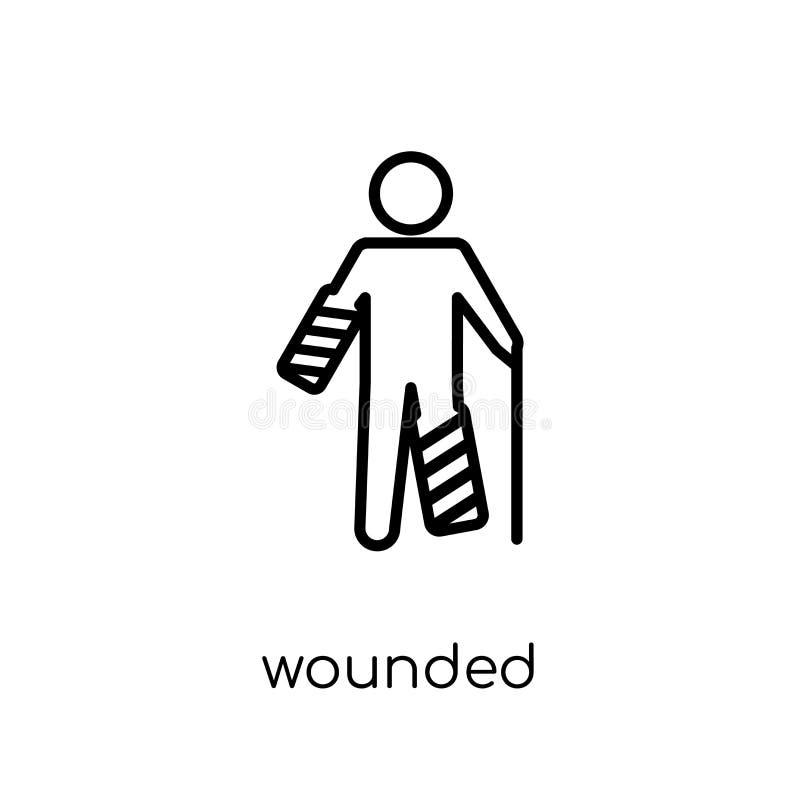 Ícone ferido Ícone ferido do vetor linear liso moderno na moda em w ilustração stock
