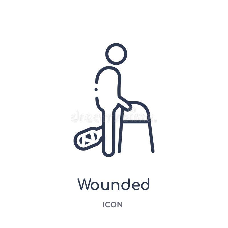 Ícone ferido linear da coleção do esboço do seguro A linha fina feriu o ícone isolado no fundo branco na moda ferido ilustração stock