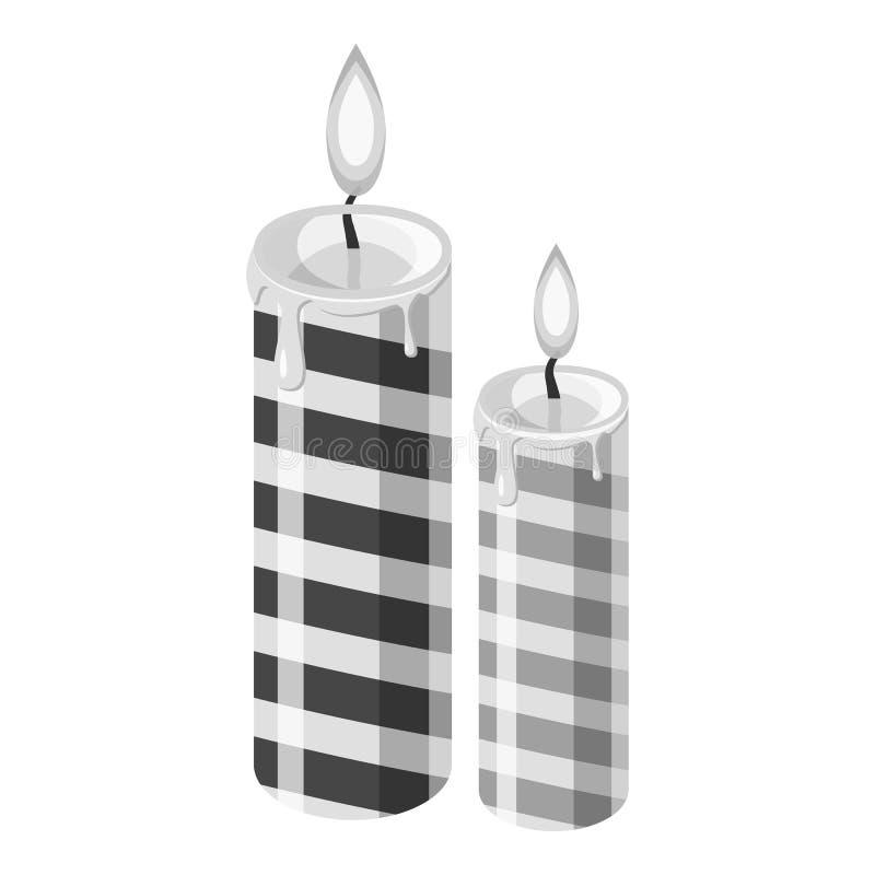 Ícone festivo da vela, estilo monocromático cinzento ilustração do vetor