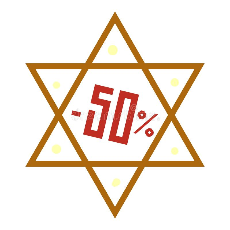 Ícone final da venda de hanukkah, estilo dos desenhos animados ilustração stock