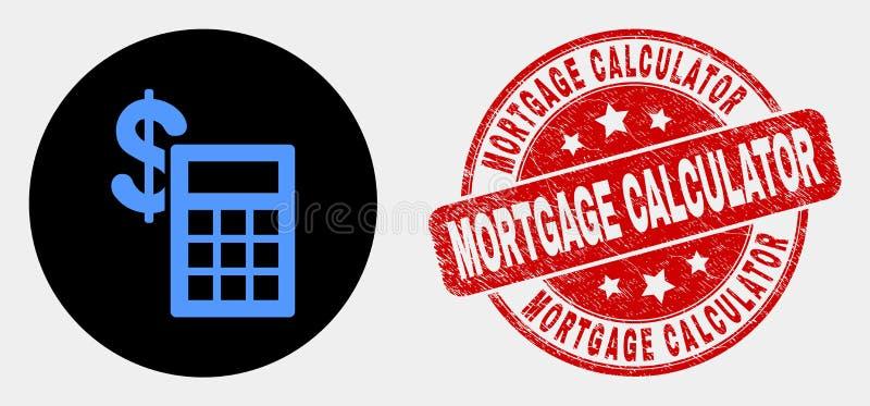 Ícone financeiro da calculadora do vetor e selo riscado do selo da calculadora da hipoteca ilustração stock