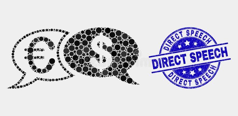 Ícone financeiro das mensagens do bate-papo do pixel do vetor e filigrana direta riscada do discurso ilustração stock