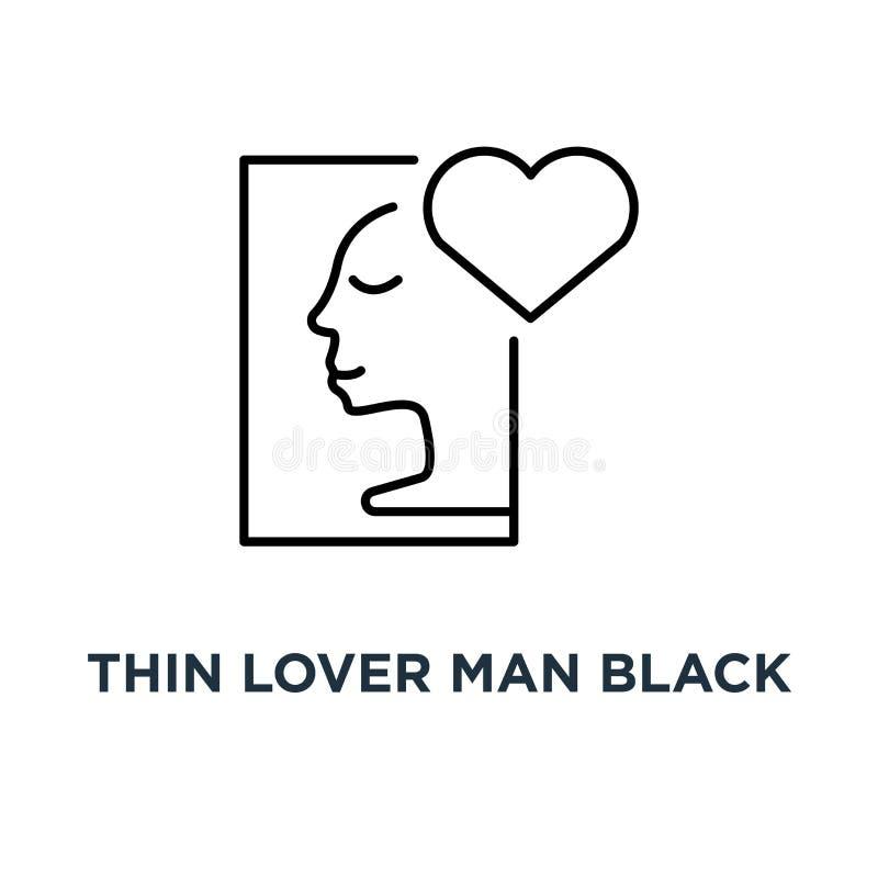 ícone fino do preto do homem do amante, símbolo do amor ou sentimento e da harmonia do caso amoroso do bom com a tendência do est ilustração do vetor