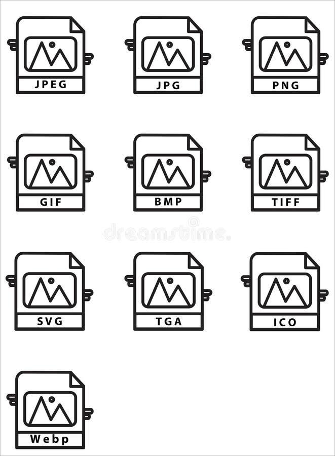 Ícone Formato de Imagem do Vetor Definir Estilo de Linha de Design ilustração stock