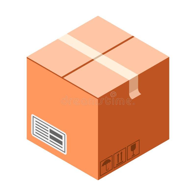 Ícone frágil da caixa de cartão, estilo isométrico ilustração royalty free