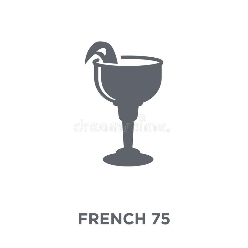 Ícone 75 francês da coleção das bebidas ilustração stock