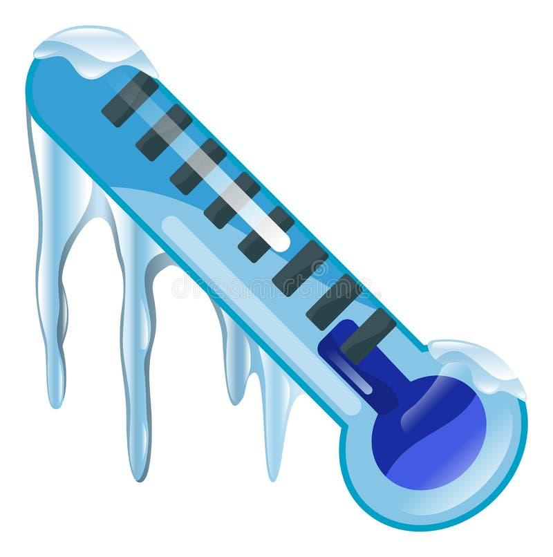 Ícone frio de congelação do termômetro ilustração stock