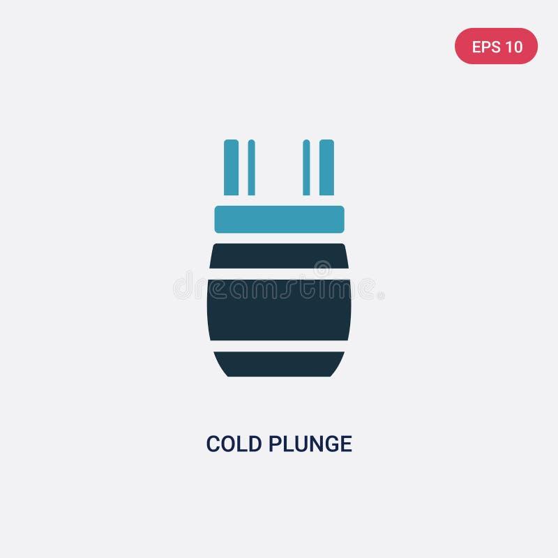 Ícone frio de duas cores do vetor do mergulho do conceito da sauna o símbolo frio azul isolado do sinal do vetor do mergulho pode ilustração stock