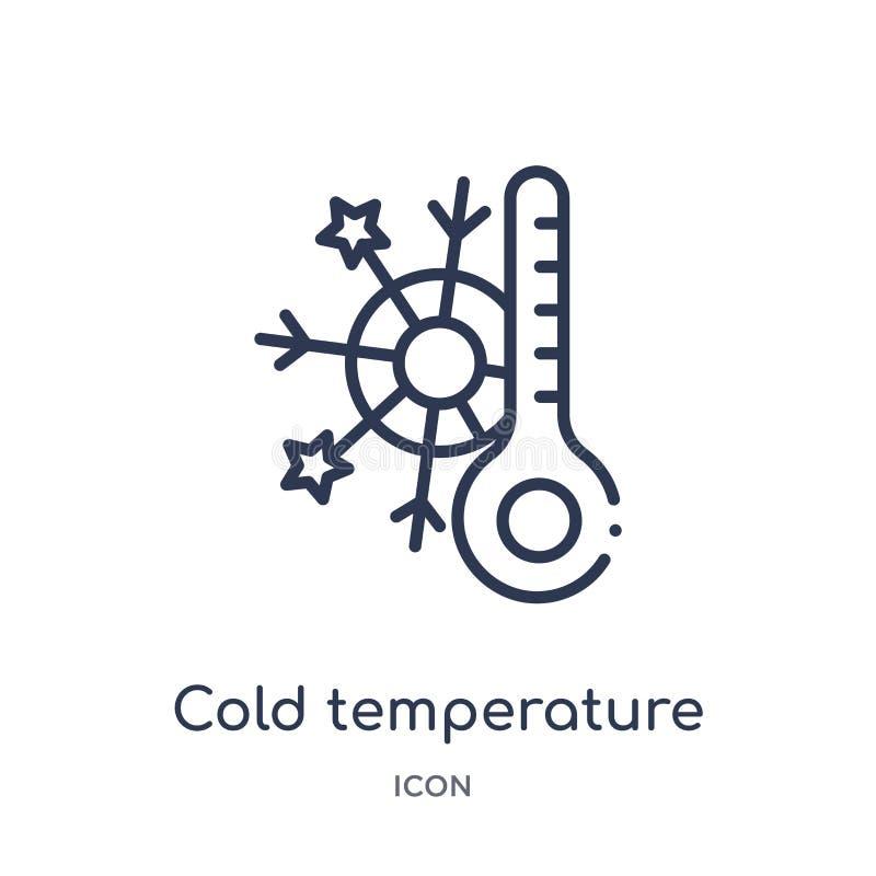 Ícone frio linear da temperatura da coleção do esboço da meteorologia Linha fina ícone frio da temperatura isolado no fundo branc ilustração do vetor