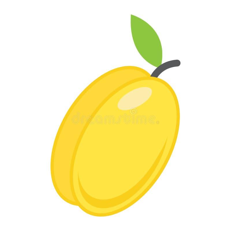Ícone, fruto e dieta lisos do abricó ilustração stock