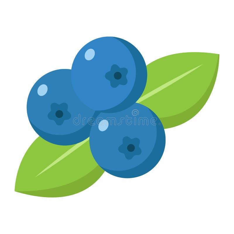 Ícone, fruto e dieta lisos do mirtilo ilustração stock