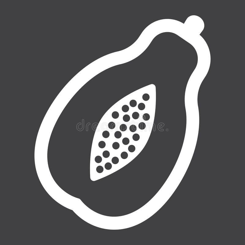 Ícone, fruto e tropical contínuos da papaia ilustração stock