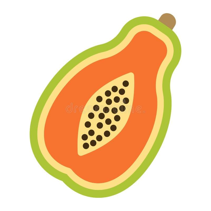 Ícone, fruto e tropical lisos da papaia ilustração royalty free