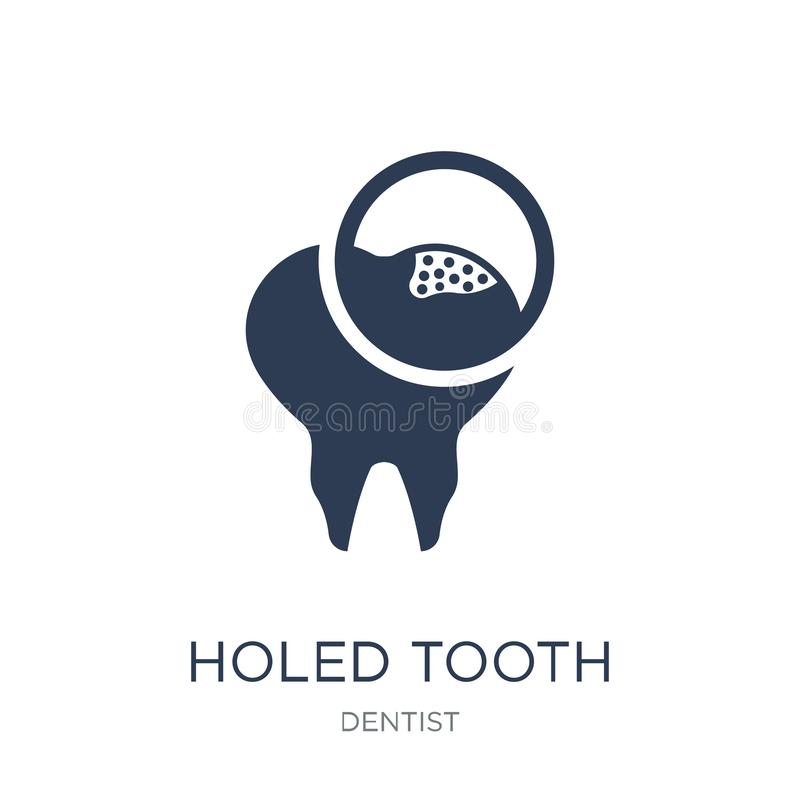 Ícone furado do dente Vetor liso na moda ícone furado do dente em b branco ilustração royalty free