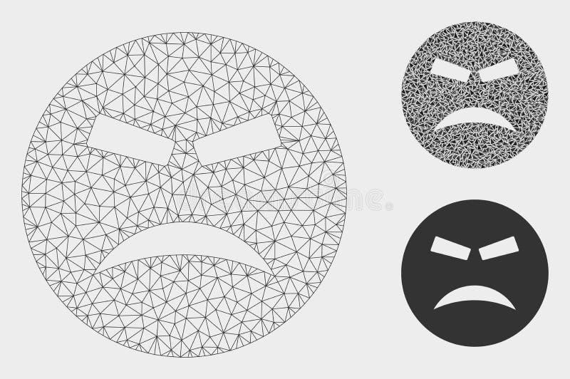 Ícone furioso do mosaico do modelo e do triângulo de Smiley Vetora Mesh 2D ilustração do vetor