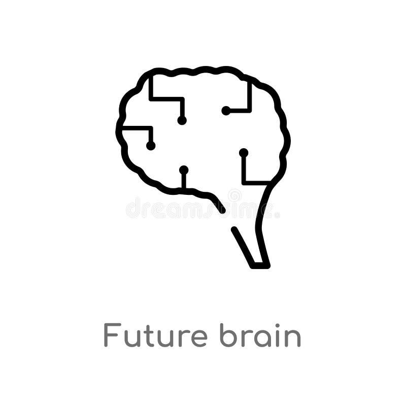 ícone futuro do vetor do cérebro do esboço linha simples preta isolada ilustra??o do elemento do conceito artificial do intellege ilustração do vetor