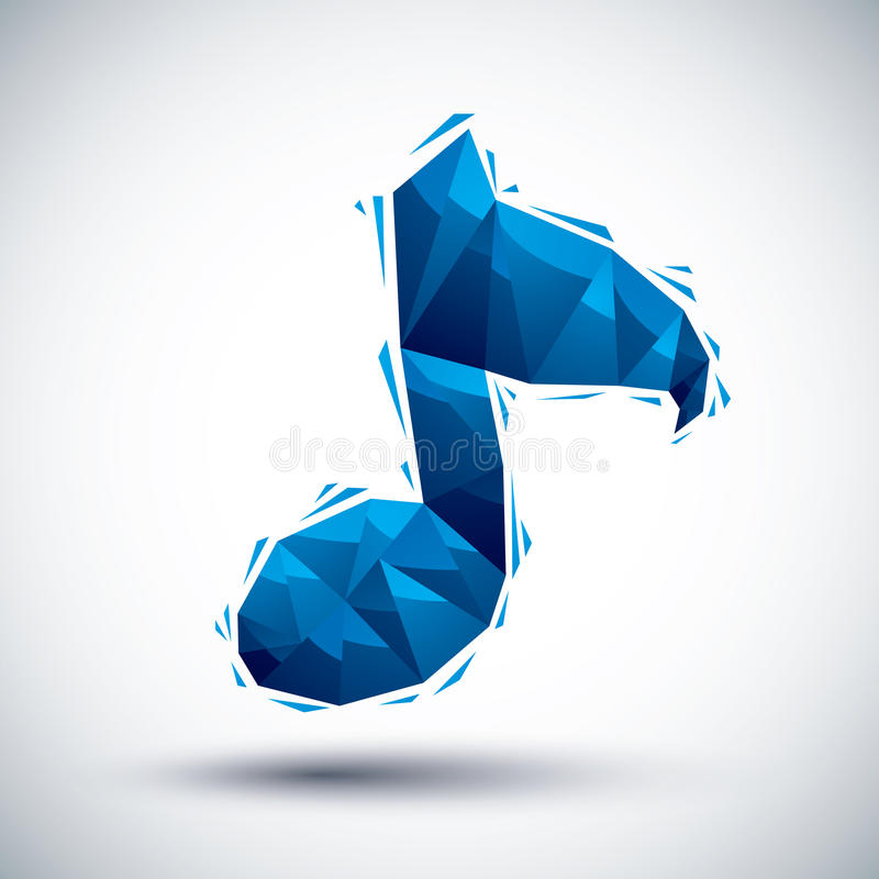 Ícone geométrico azul da nota musical feito 3d no estilo moderno, o melhor f ilustração royalty free