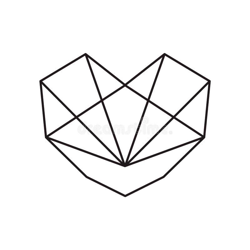 Ícone geométrico da forma do amor do coração do preto do vetor Ilustração do projeto para o empacotamento, o cartão de casamento  ilustração stock