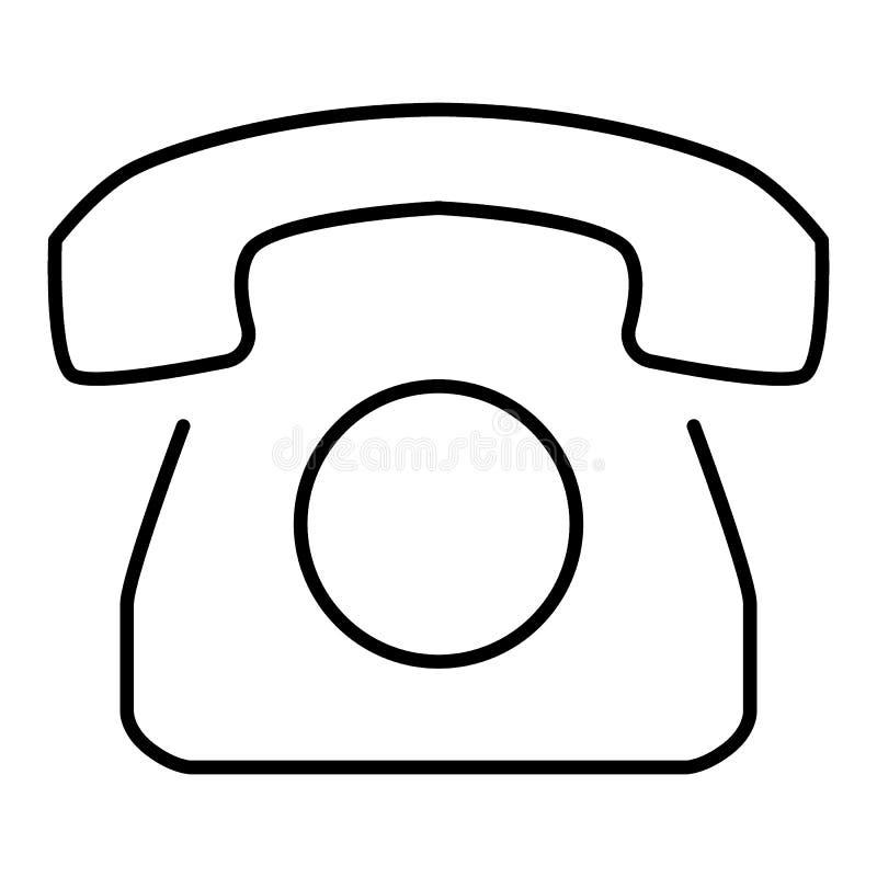 Ícone giratório velho do esboço do telefone Ícone do vetor isolado no branco Projeto liso Eps 10 ilustração stock