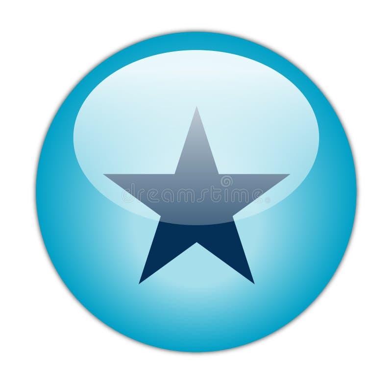 Ícone Glassy da estrela azul ilustração royalty free