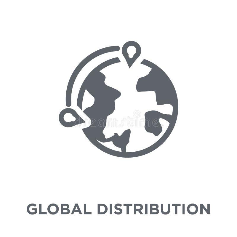 Ícone global da distribuição da entrega e da coleção logística ilustração do vetor
