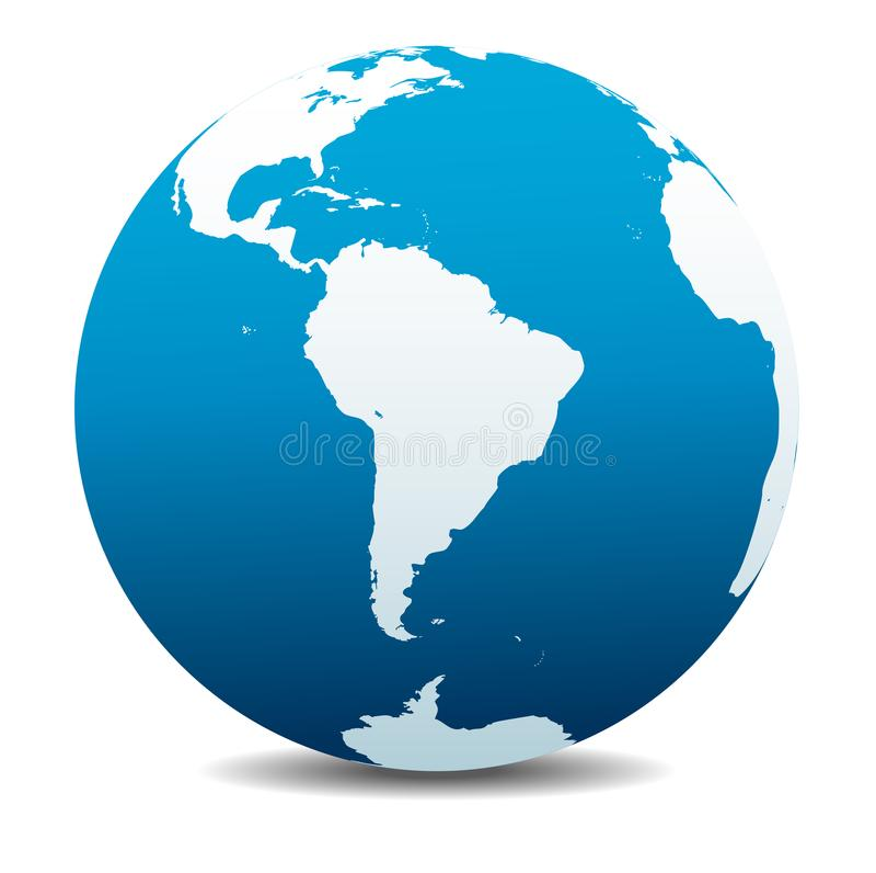 Ícone global da terra do planeta do mundo de Ámérica do Sul ilustração stock