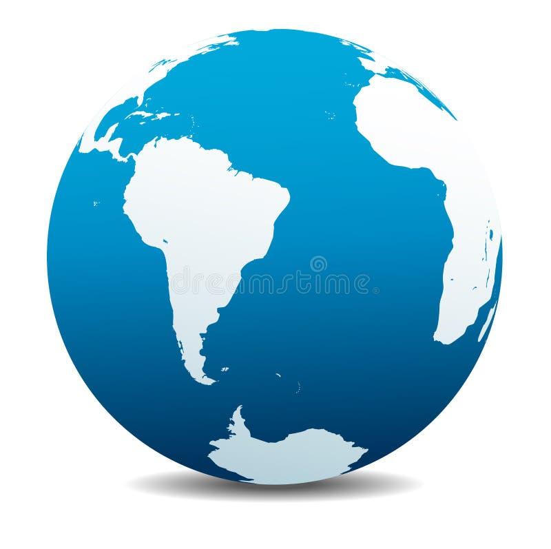 Ícone global da terra do planeta do mundo de Ámérica do Sul e de África ilustração stock