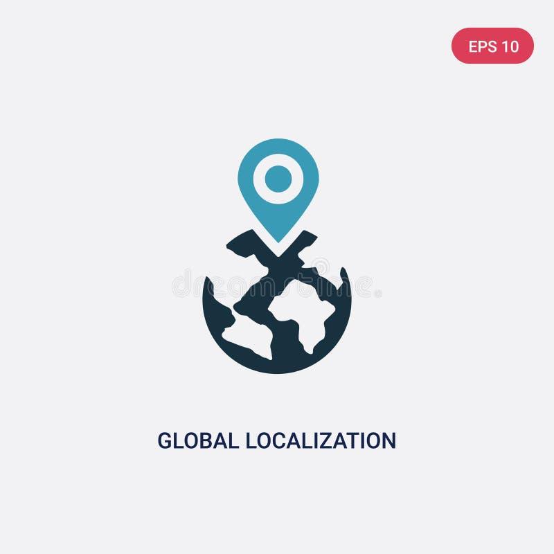 Ícone global de duas cores do vetor da localização do conceito dos trabalhos em rede o símbolo global azul isolado do sinal do ve ilustração do vetor