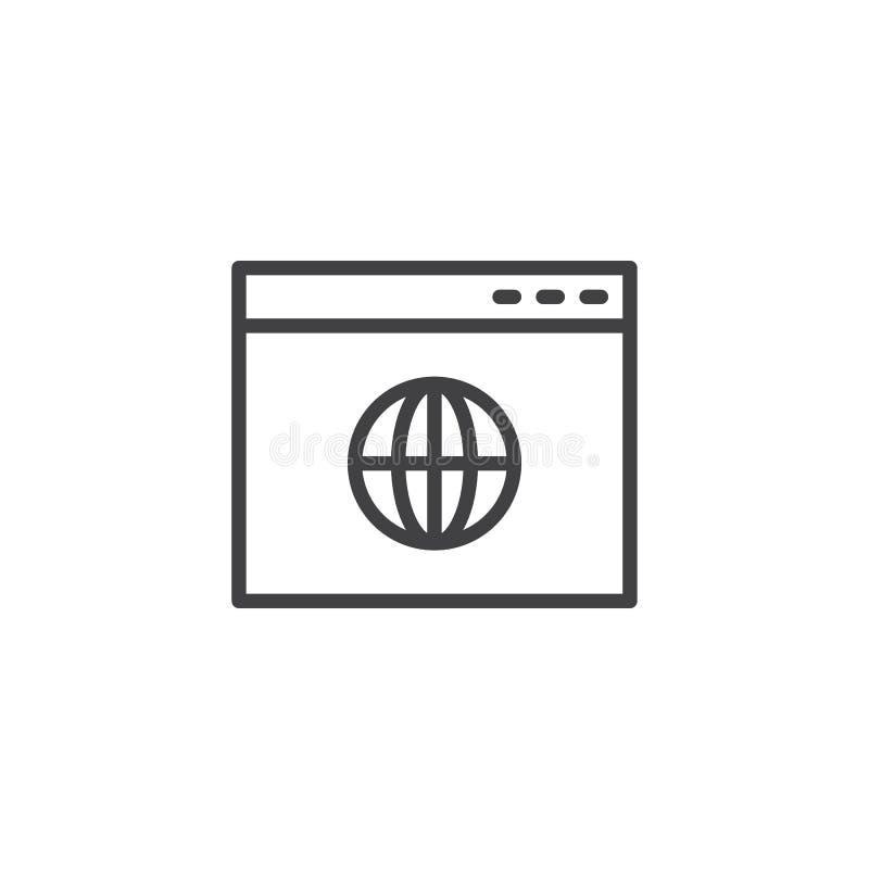 Ícone global do esboço da página do navegador ilustração stock