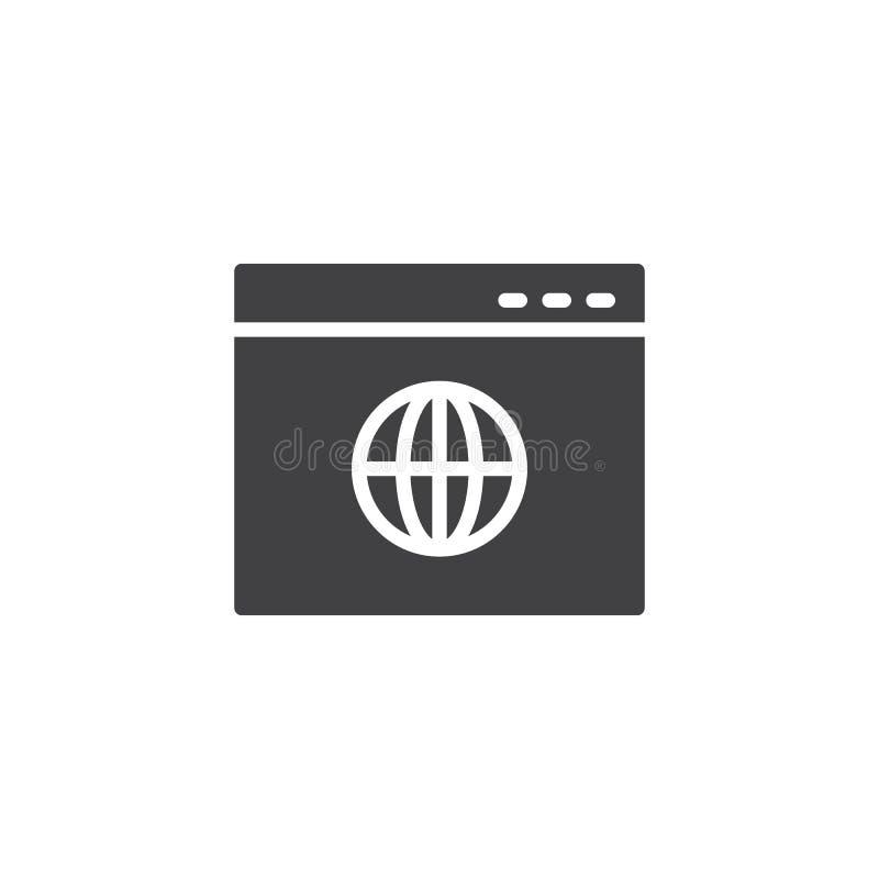 Ícone global do vetor da página do navegador ilustração royalty free