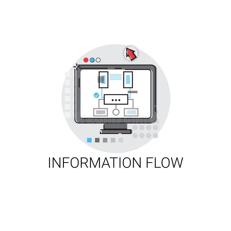 Ícone global dos dados do fluxo de informação ilustração stock