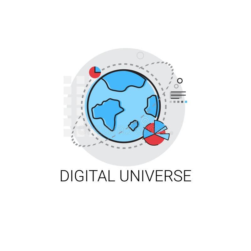 Ícone global dos dados do fluxo de informação do universo de Digitas ilustração royalty free