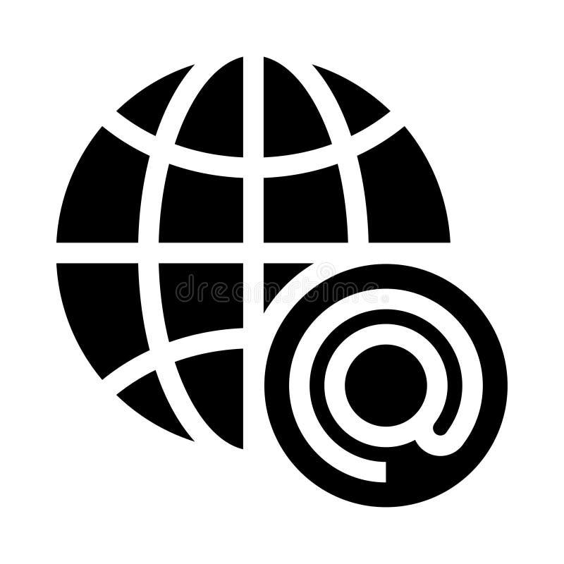 Ícone global dos glyphs do correio ilustração royalty free