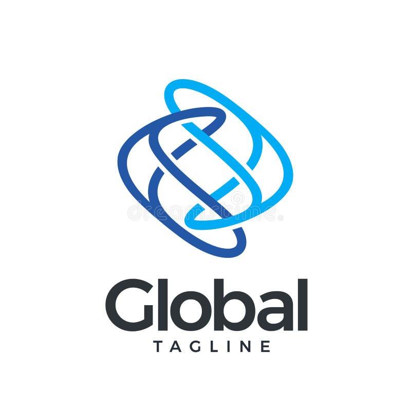 Ícone global no azul ilustração stock
