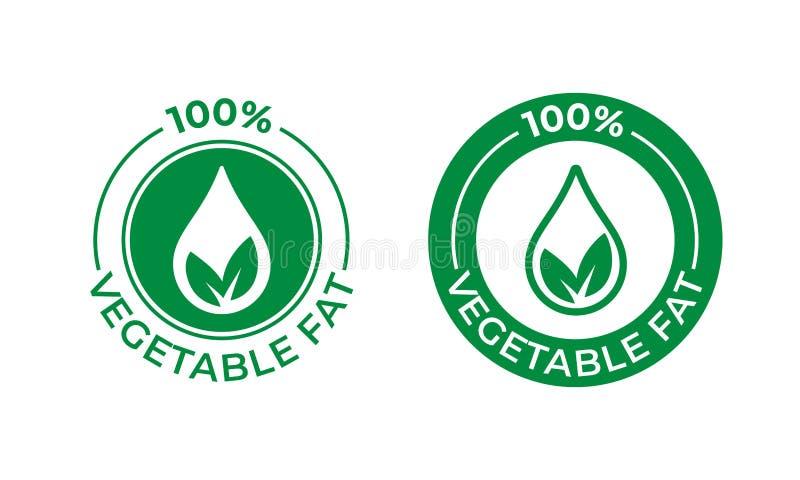 ícone gordo vegetal de um vetor de 100 por cento Pacote do alimento, ingrediente gordo vegetal, folha verde e etiqueta da gota do ilustração royalty free
