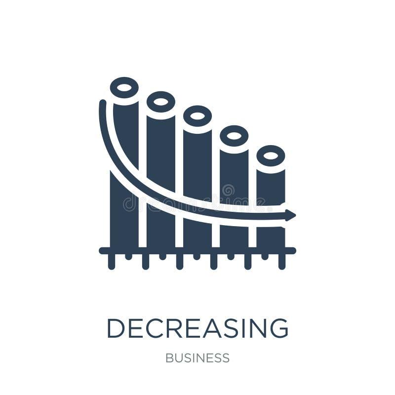 ícone gráfico de diminuição das barras dos estoques no estilo na moda do projeto ícone gráfico de diminuição das barras dos estoq ilustração stock