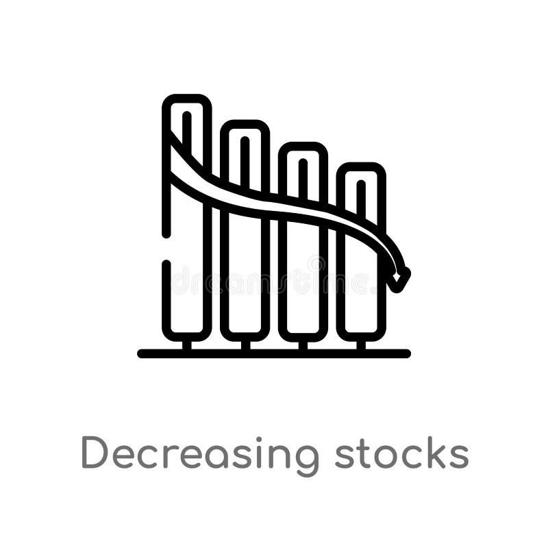 ícone gráfico de diminuição do vetor das barras dos estoques do esboço linha simples preta isolada ilustra??o do elemento do conc ilustração do vetor