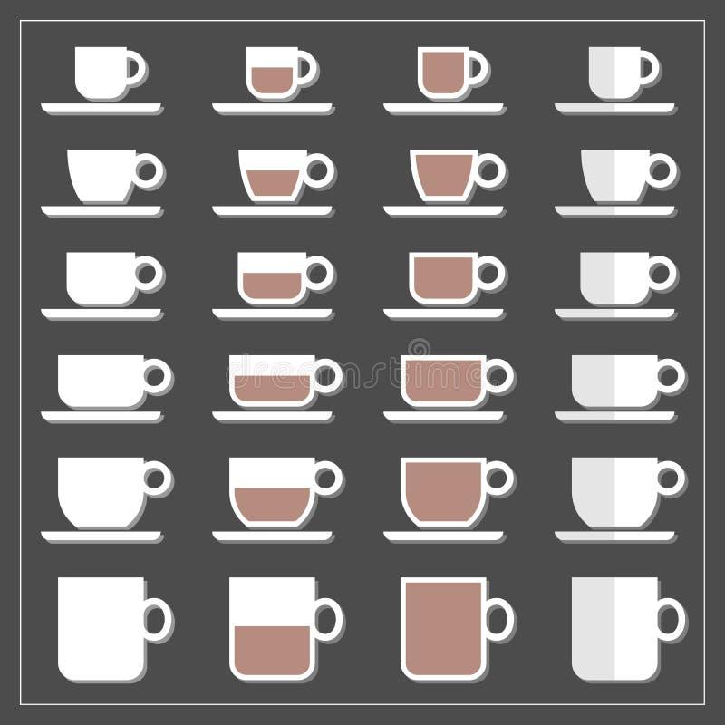 Ícone gráfico meio cheio vazio da caneca do copo de chá do café ajustado na obscuridade ilustração royalty free