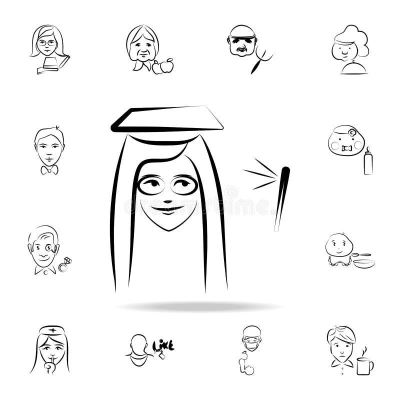 ícone graduado do estilo do esboço do avatar da universidade Grupo detalhado de profissão em ícones do estilo do esboço Projeto g ilustração royalty free