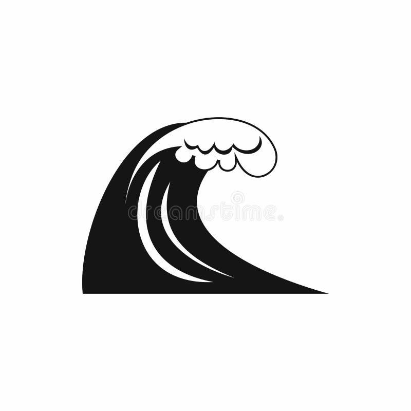 Ícone grande da onda, estilo simples ilustração stock