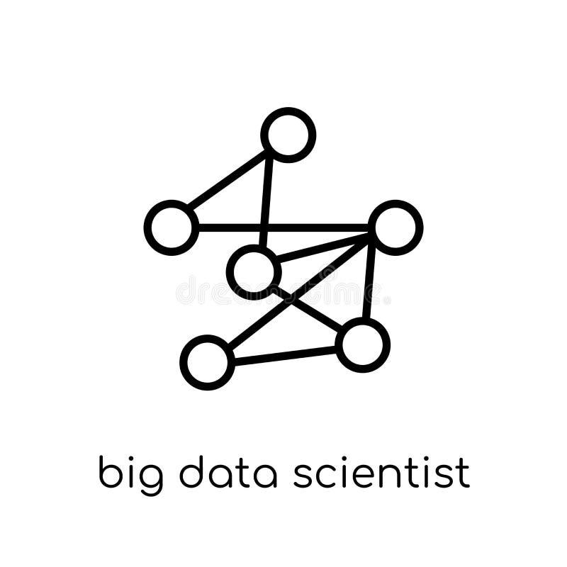 ícone grande do cientista dos dados Vetor linear liso moderno na moda a Dinamarca grande ilustração stock