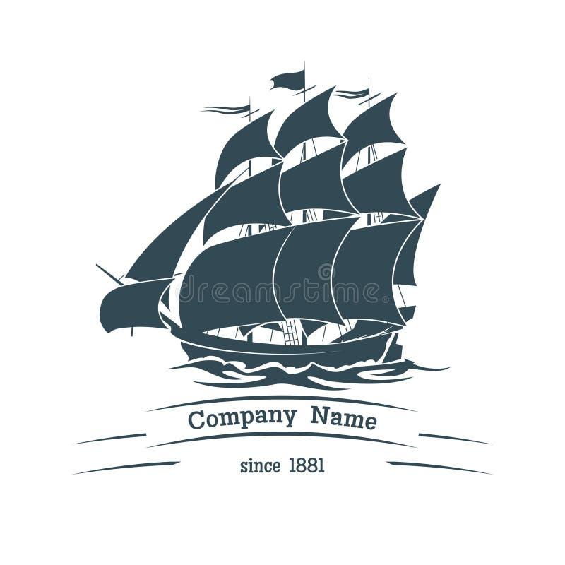 Ícone grande do logotipo do navio da vela ilustração stock