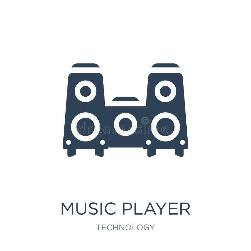 ícone grande do orador do jogador de música no estilo na moda do projeto ícone grande do orador do jogador de música isolado no f ilustração stock