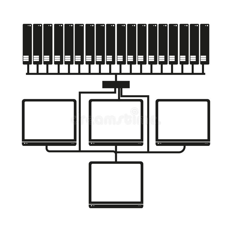 Ícone grande do preto do vetor da rede informática de dados no fundo branco ilustração do vetor