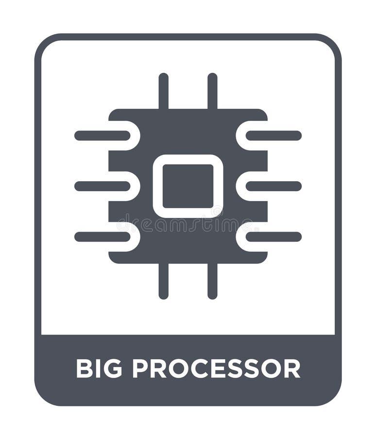 ícone grande do processador no estilo na moda do projeto ícone grande do processador isolado no fundo branco ícone grande do veto ilustração royalty free